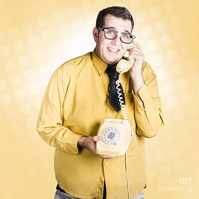 Geeky Businessman On Important Phone Call Poster by Jorgo Photography - Wall Art Gallery