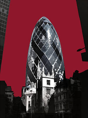 Gherkin - Blazing Red Poster by Big Fat Arts