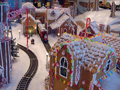 Gingerbread House Miniature Train Poster
