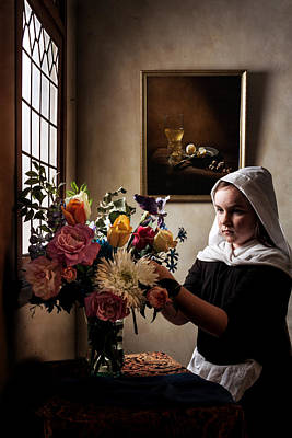 Girl Arranging A Flower Bouquet In A Glass Vase Poster by Levin Rodriguez