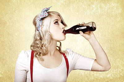 Girl Drinking Soda Drink At Vintage Sweets Shop Poster by Jorgo Photography - Wall Art Gallery