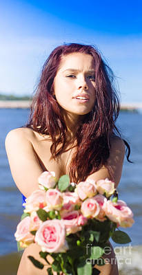 Girl Giving Rose Bouquet Poster by Jorgo Photography - Wall Art Gallery