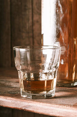 Glass Of Southern Scotch Whiskey On Wooden Table Poster