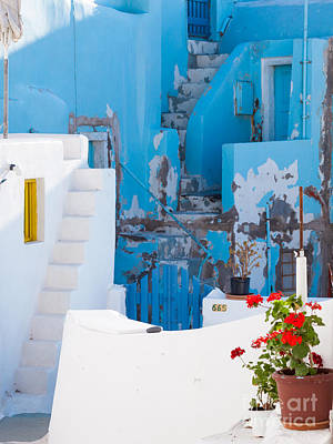 Glimpse Of Typical White Houses In Oia Santorini Greece Poster
