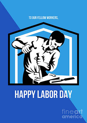 God Bless Our Workers Happy Labor Day Retro Poster Poster by Aloysius Patrimonio
