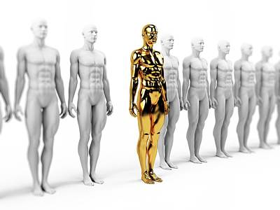 Gold And White Human Models Poster