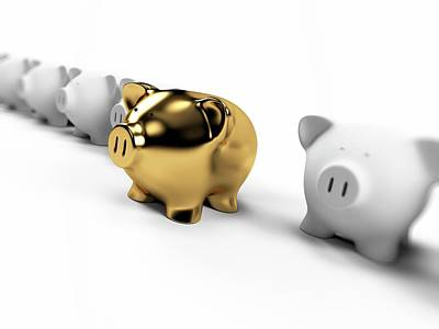 Gold And White Piggy Banks Poster