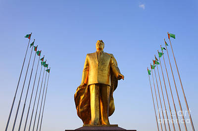 Golden Statue Of Niyazov In The Park Of Independence In Ashgabat Turkmenistan Poster by Robert Preston