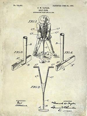 Golf Club Patent Drawing Poster by Jon Neidert