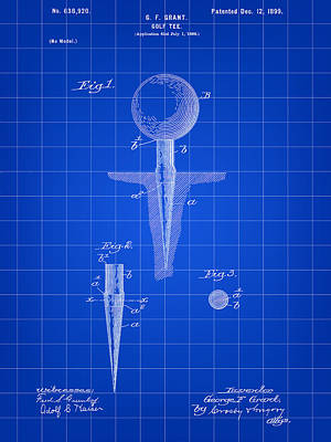 Golf Tee Patent 1899 - Blue Poster by Stephen Younts