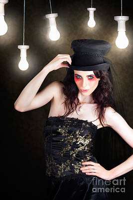 Gorgeous Female Fashion Model Wearing Top Hat Poster