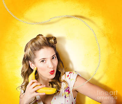 Gossiping Retro Pin Up Girl On Fruit Phone Poster by Jorgo Photography - Wall Art Gallery
