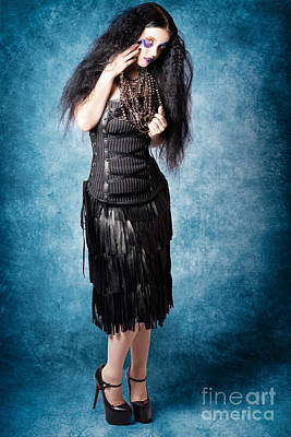 Gothic Female Fashion Model. Elegant Black Outfit Poster by Jorgo Photography - Wall Art Gallery