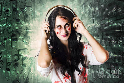 Gothic Rock Music Girl Wearing Headphones Poster by Jorgo Photography - Wall Art Gallery