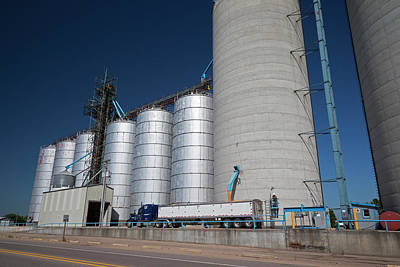 Grain Truck Being Filled At A Silo Poster