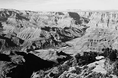 Grand Canyon Eastern Sunset View Black And White Poster by Shawn O'Brien