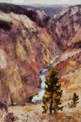 Poster featuring the painting Grand Canyon Of The Yellowstone by Kai Saarto