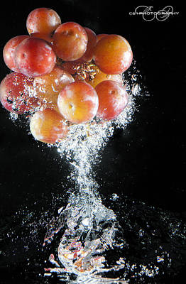 Grapes Splash Poster