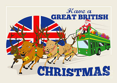 Great British Christmas Santa Reindeer Doube Decker Bus Poster by Aloysius Patrimonio