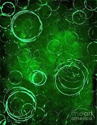 Green Bubbles Poster by Michael Grubb