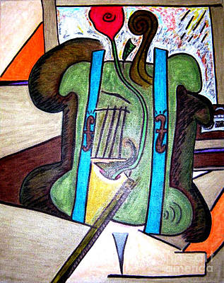 Green Cello Plants In A Pot Poster by Lois Picasso