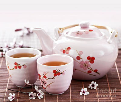Green Tea Set Poster by Elena Elisseeva