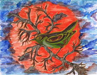 Poster featuring the painting Green Warbler by Teresa White