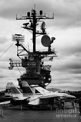 Grumman F14 In Front Of The Bridge On The Flight Deck Of The Uss Intrepid  Poster by Joe Fox