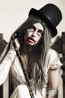 Grunge Ghost Girl With Blood Mouth. Dark Fine Art Poster