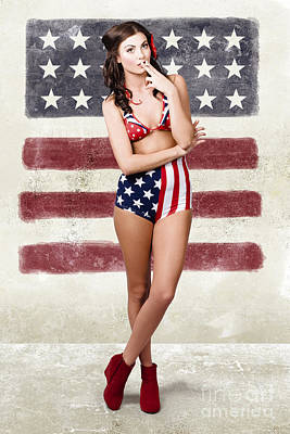 Grunge Pin Up Woman In American Fashion Style Poster