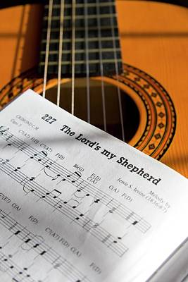 Guitar And Book Of Music Poster by John Short