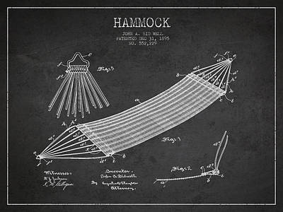 Hammock Patent Drawing From 1895 Poster by Aged Pixel