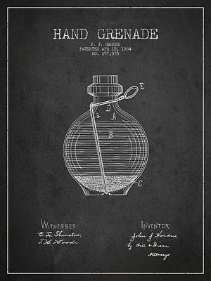 Hand Grenade Patent Drawing From 1884 Poster