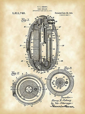 Hand Grenade Patent 1917 - Vintage Poster by Stephen Younts