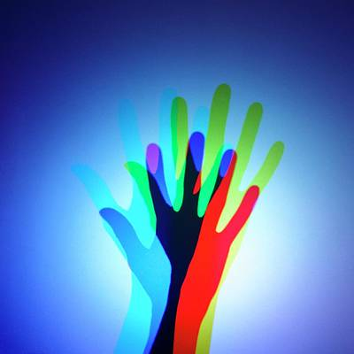 Hand With Colour Mixing Poster