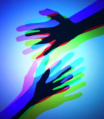 Hands With Colour Mixing Poster
