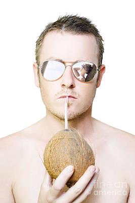 Handsome Summer Man Drinking Coconut Cocktail Poster