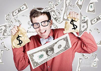 Happy Accountant Man In Rain Of Falling Money Poster by Jorgo Photography - Wall Art Gallery