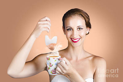 Happy Beautiful Pin Up Girl Drinking Tea Or Coffee Poster