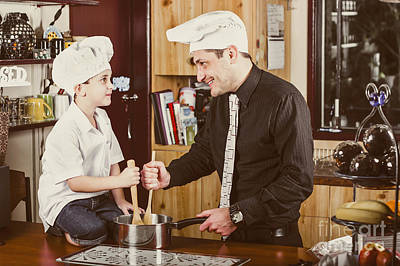 Happy Dad And Son Baking Cake In House Kitchen Poster