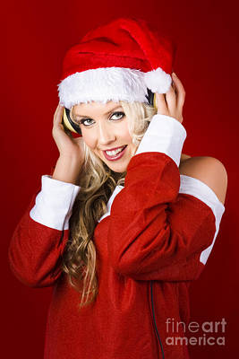 Happy Dj Christmas Girl Listening To Xmas Music Poster by Jorgo Photography - Wall Art Gallery