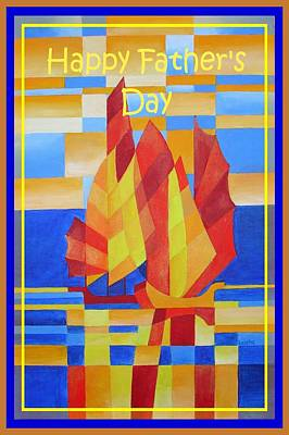 Happy Father's Day Sailing On The Seven Seas So Blue Cubist Abstract Poster by Tracey Harrington-Simpson