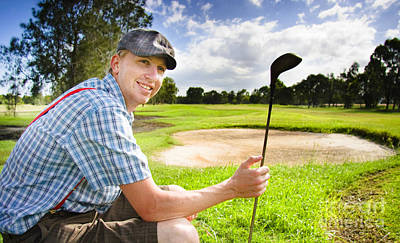 Happy Golf Player Poster
