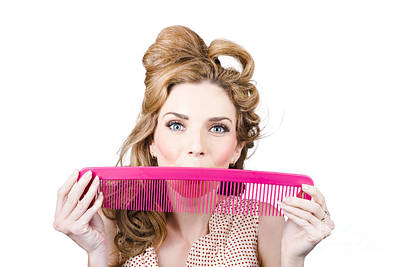 Happy Hairstyle Pinup Woman Smiling With Hair Comb Poster by Jorgo Photography - Wall Art Gallery