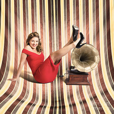 Happy Pin Up Lady. Retro Music And Entertainment Poster