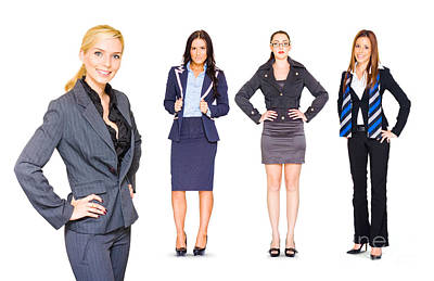 Happy Team Of Business People Isolated Over White Poster