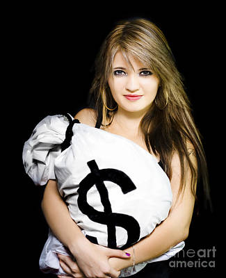 Happy Woman With A Bag Of American Dollar Bills Poster