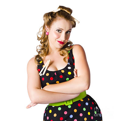 Happy Young Housewife Poster by Jorgo Photography - Wall Art Gallery