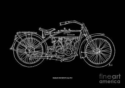 Harley Davidson 11j 1915 Poster by Pablo Franchi