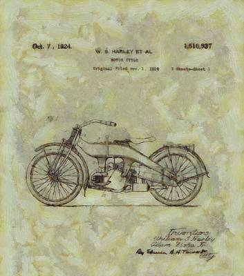 Harley Davidson Patent Poster by Dan Sproul